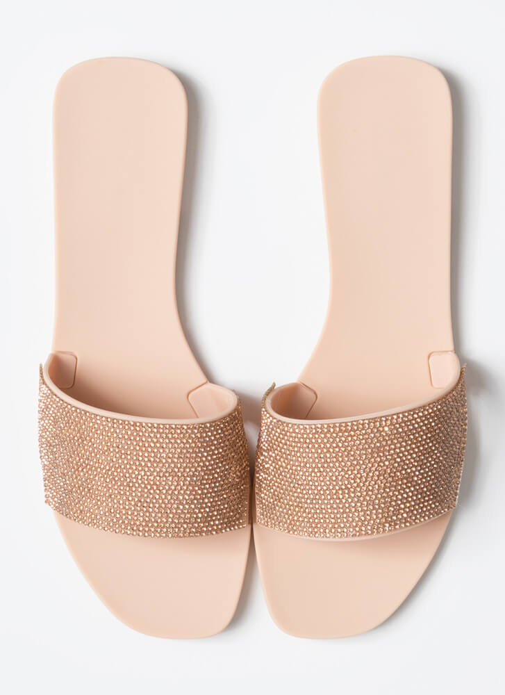 Glam Me Up Rhinestone Slide Sandals NUDE