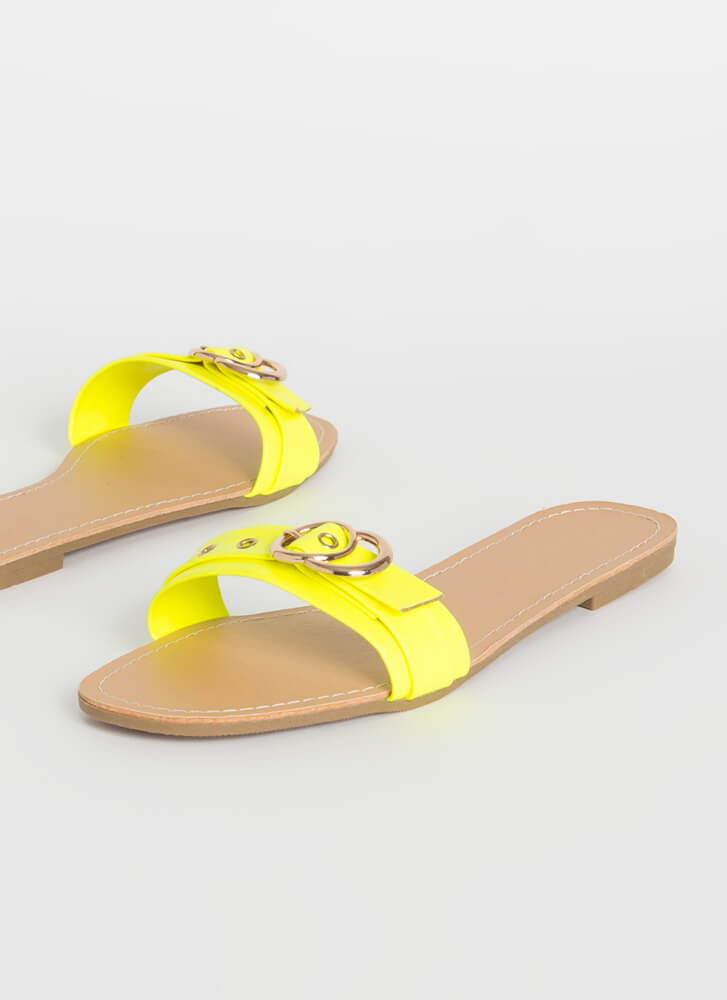 Toe Rings Strappy Buckled Slide Sandals YELLOW