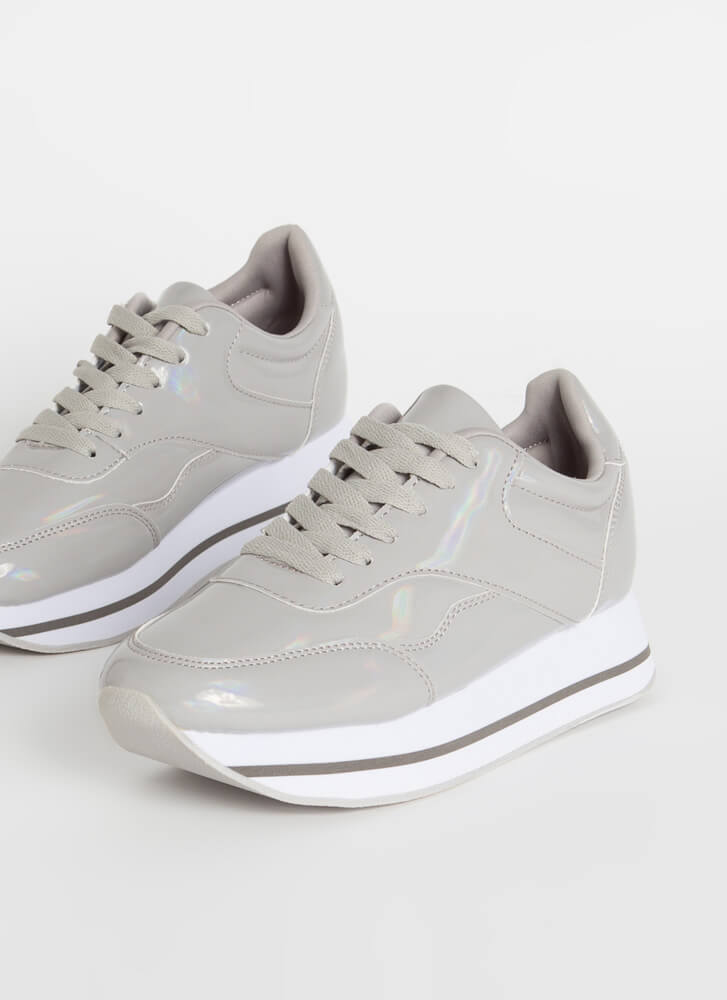 Cool Running Glossy Platform Sneakers GREY