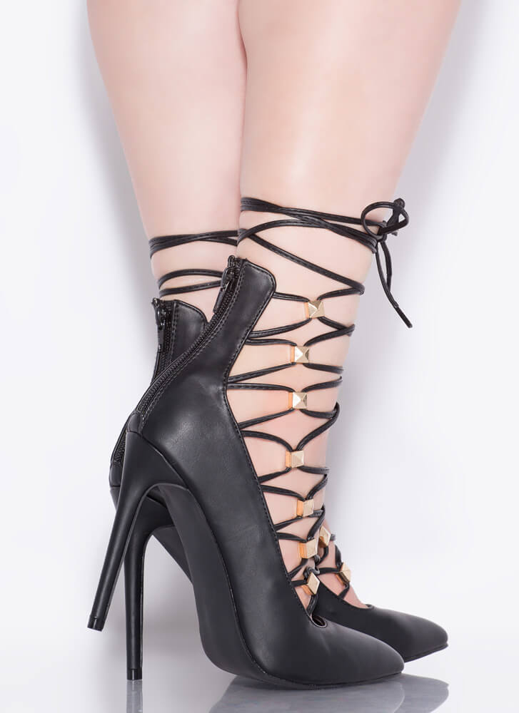 Something New Studded Lace-Up Pumps BLACK