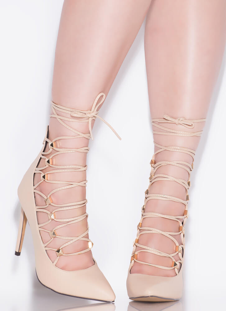 Something New Studded Lace-Up Pumps NUDE
