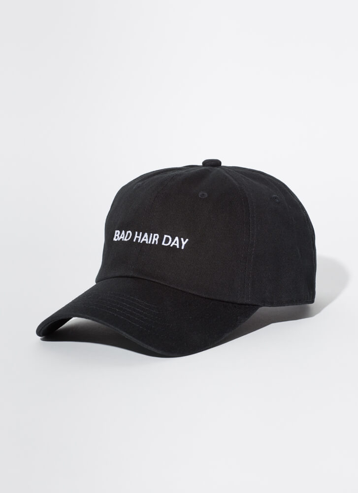 Bad Hair Day Embroidered Baseball Cap BLACK