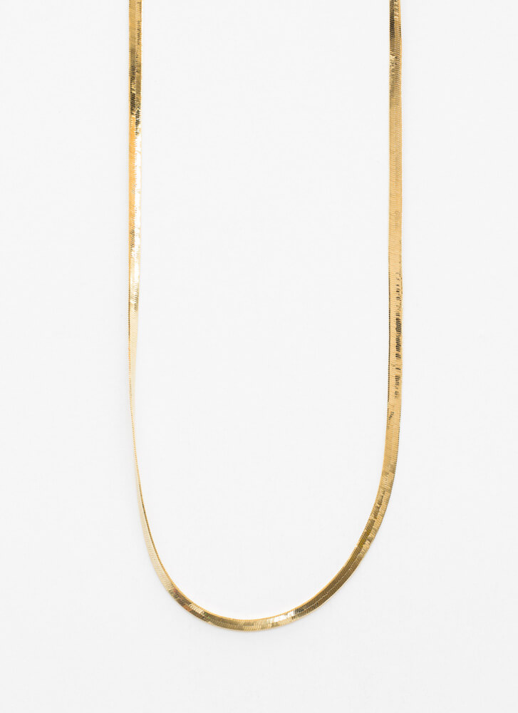 Long Story Herringbone Chain Necklace GOLD