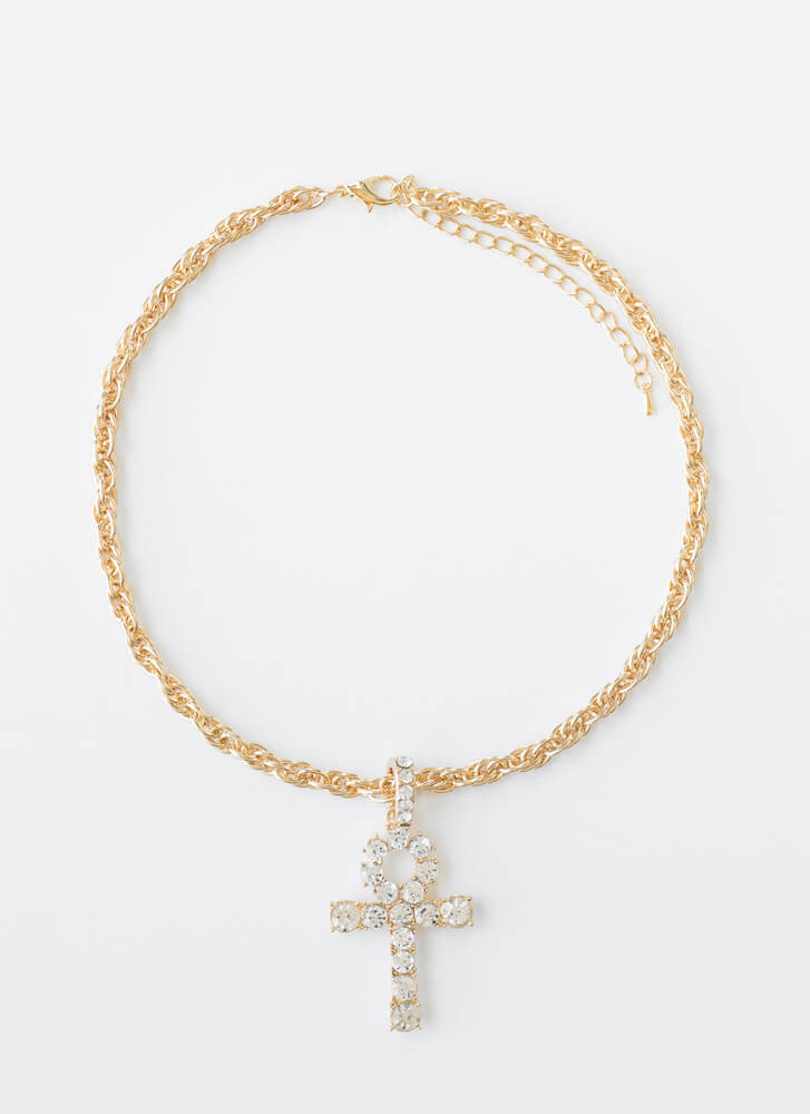Ankh You Very Much Jeweled Chain Choker GOLD