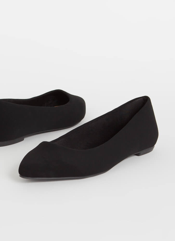 Down To Earth Almond Toe Ballet Flats BLACK