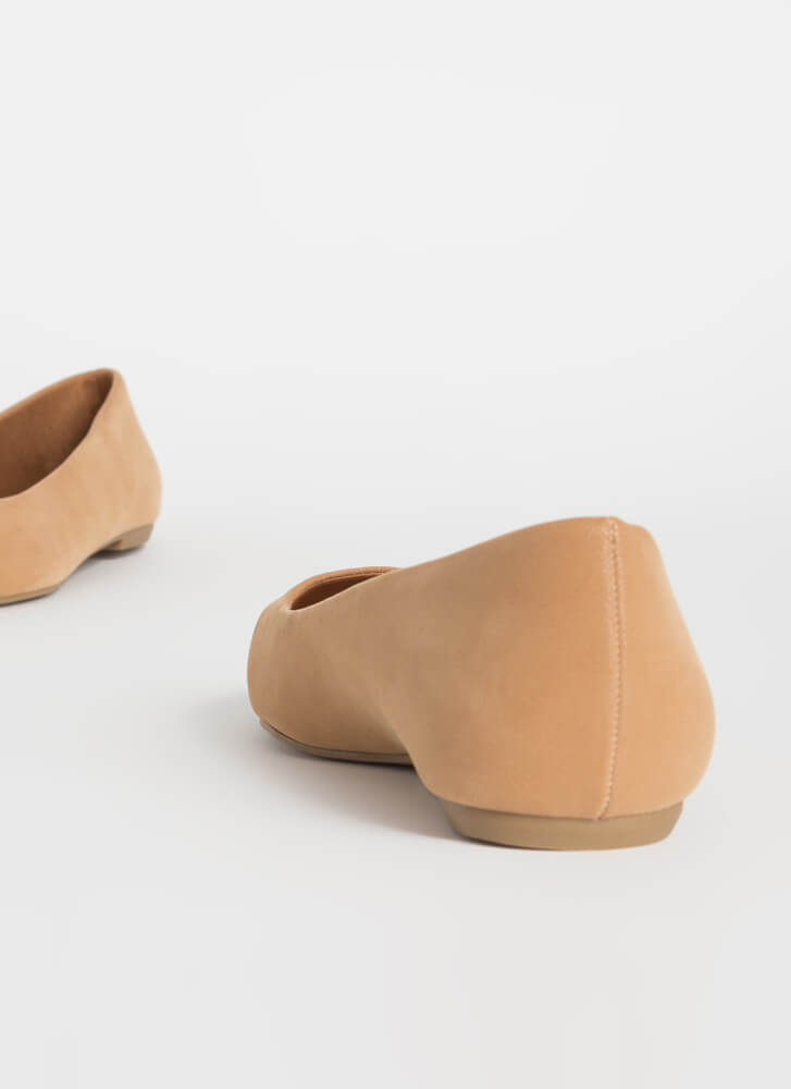 Down To Earth Almond Toe Ballet Flats CAMEL