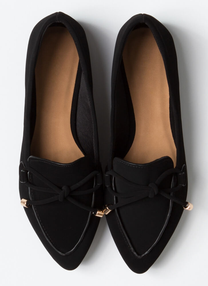 Tie And Top This Bow-Front Loafer Flats BLACK