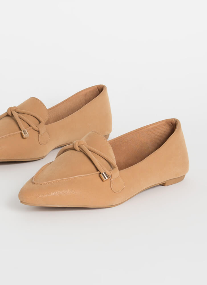 Tie And Top This Bow-Front Loafer Flats CAMEL