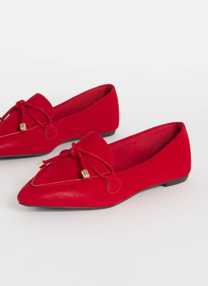 Tie And Top This Bow-Front Loafer Flats RED