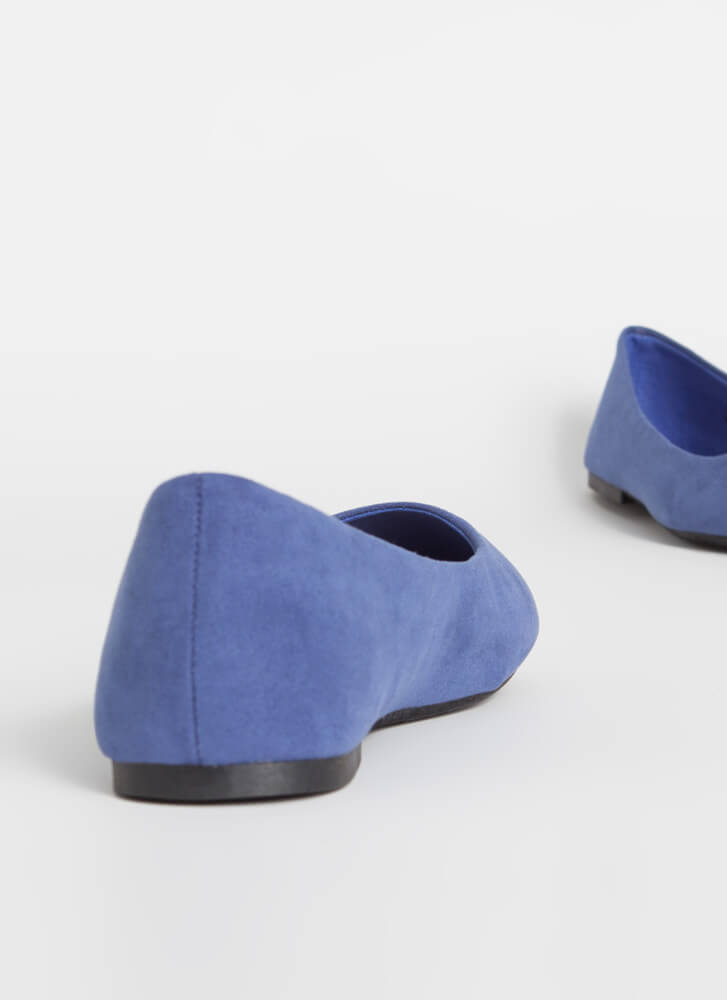 Round Up Faux Suede Ballet Flats BLUE