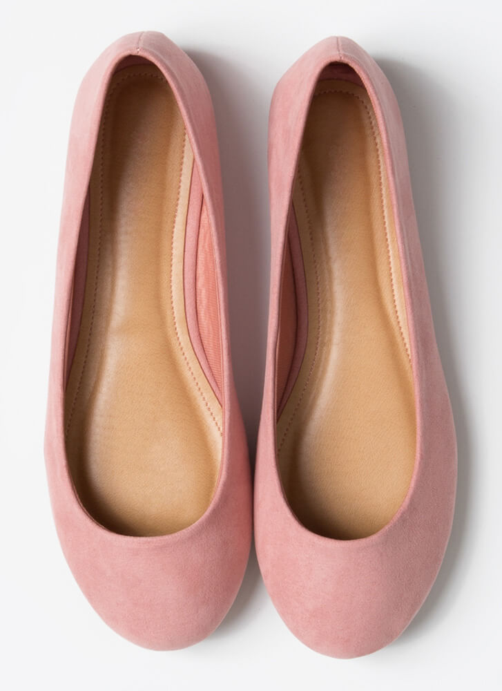 Round Up Faux Suede Ballet Flats BLUSH