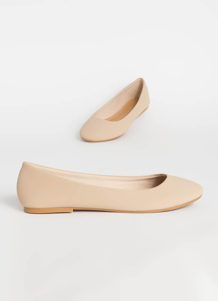 Round Up Faux Nubuck Ballet Flats NUDE