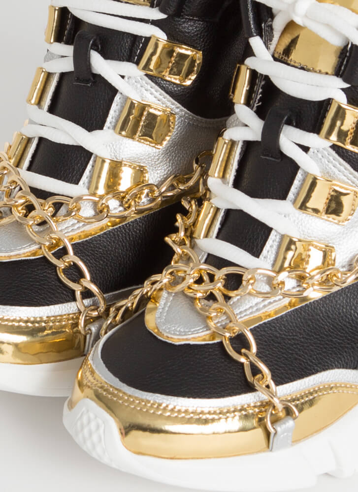 Can't Touch This Chained Wedge Sneakers BLACK