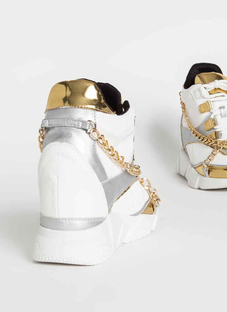 Can't Touch This Chained Wedge Sneakers WHITE