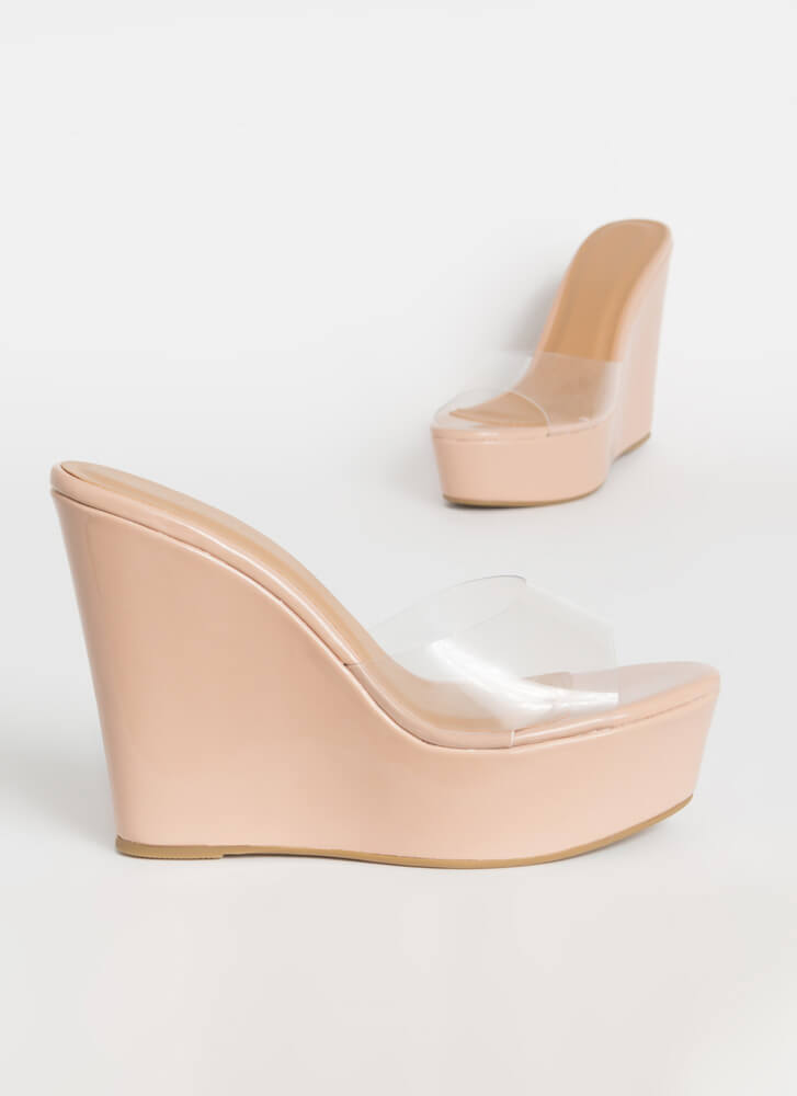 Higher Power Clear Mule Wedges NUDE