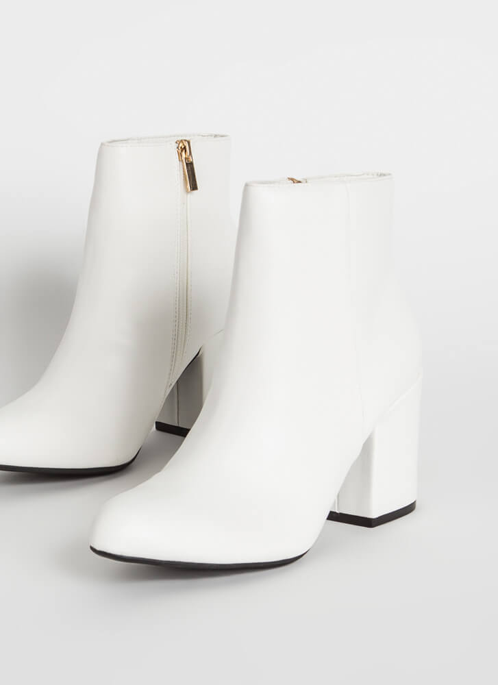 Around The Block Faux Leather Booties WHITE