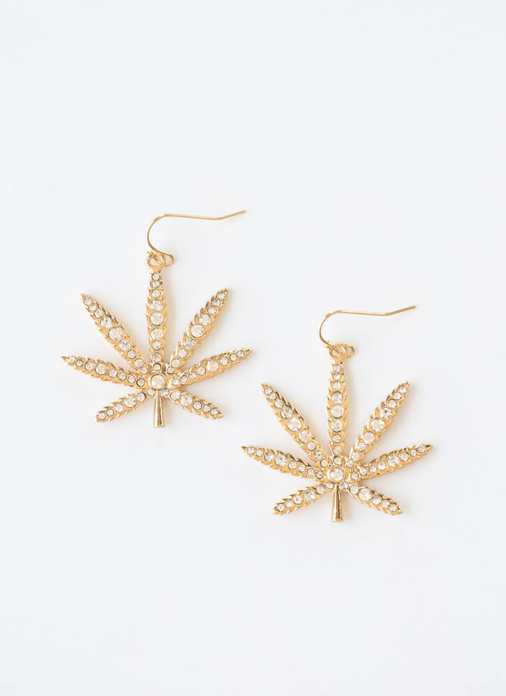 This Is Euphoria Jeweled Leaf Earrings GOLD