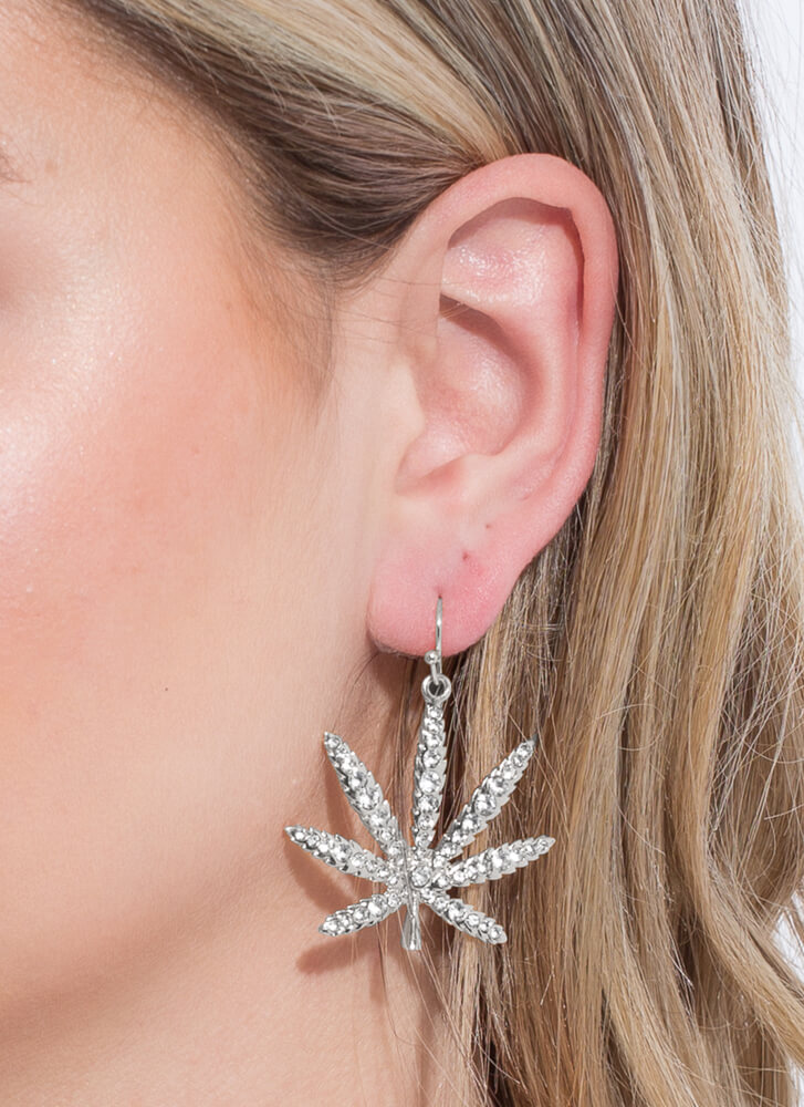 This Is Euphoria Jeweled Leaf Earrings SILVER