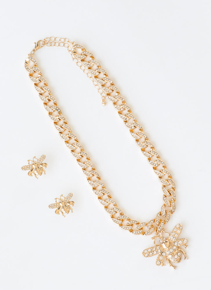 Bee Sparkly Jeweled Choker Necklace Set GOLD