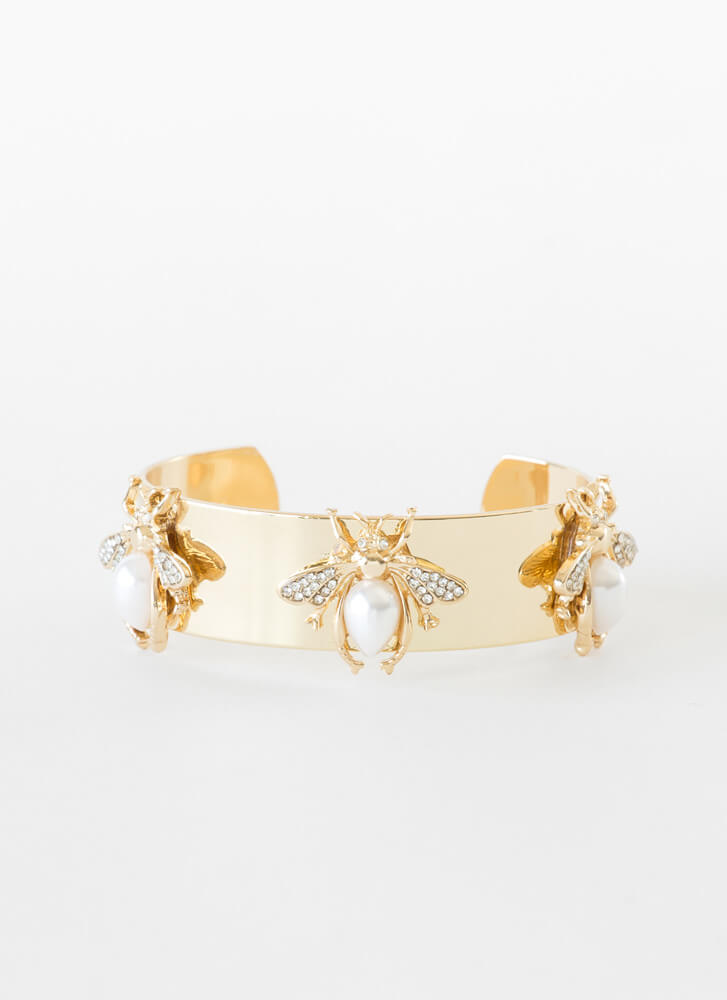 3 Bees Jeweled Faux Pearl Cuff Bracelet GOLDCLEAR