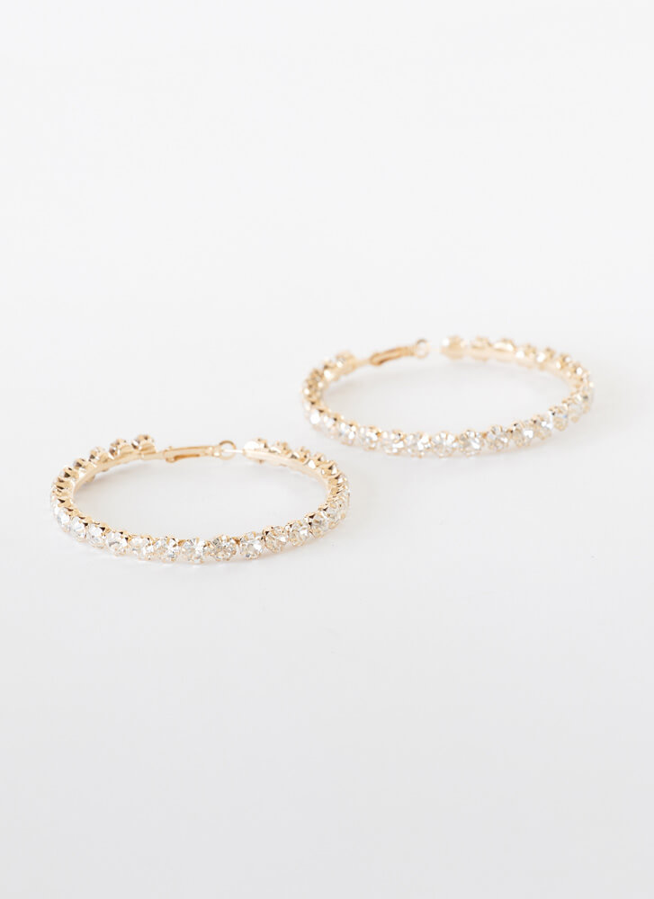 Bling On The Glam Jeweled Hoop Earrings GOLD