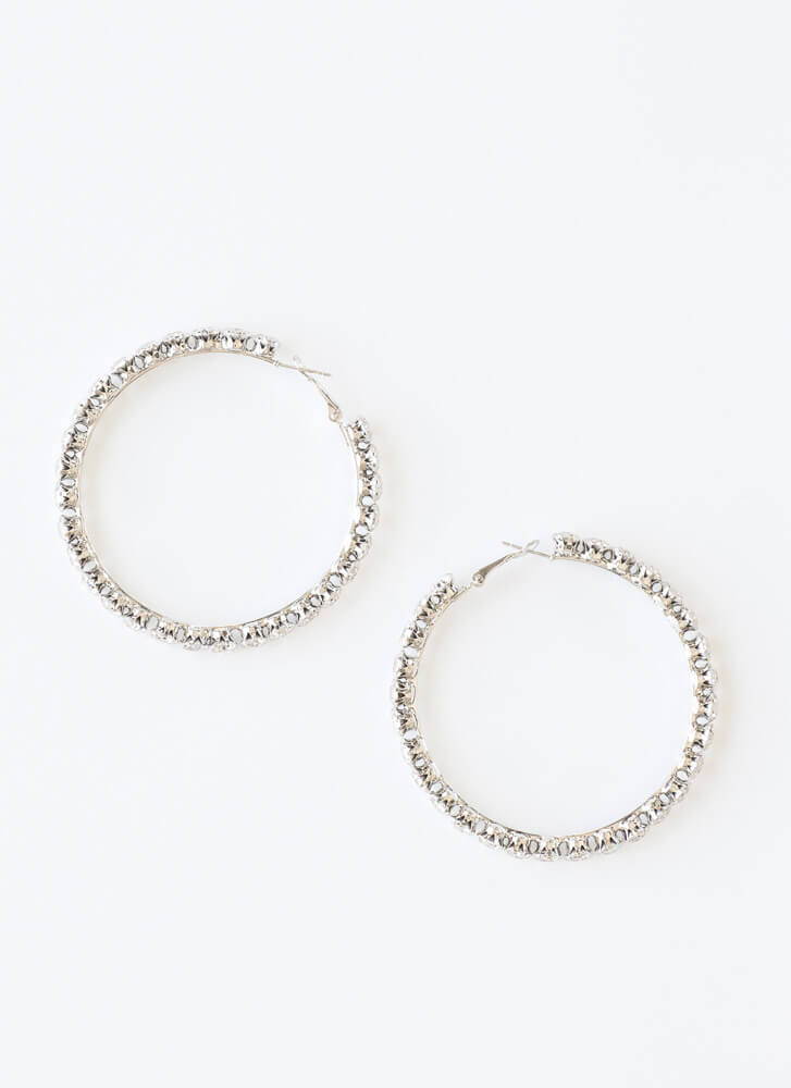 Bling On The Glam Jeweled Hoop Earrings SILVER