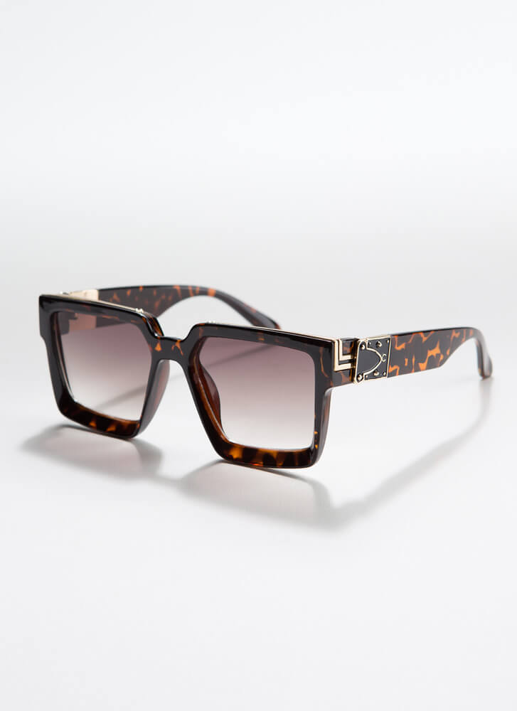 Square Off Thick-Rimmed Sunglasses BROWN