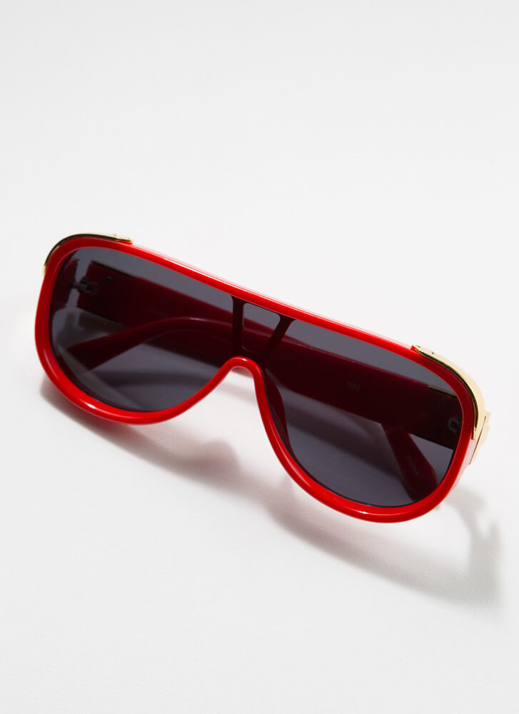 Stay Cool Shiny Accent Goggle Sunglasses RED