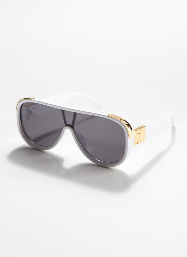 Stay Cool Shiny Accent Goggle Sunglasses WHITE