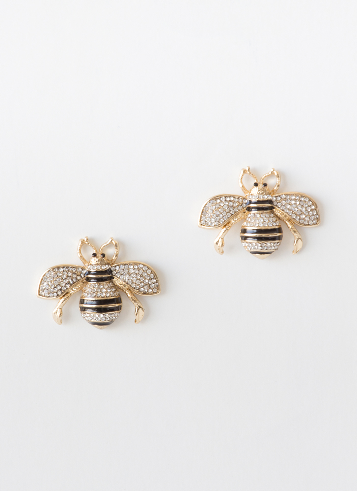 Bee Dazzled Striped Jeweled Earrings GOLDCLEAR