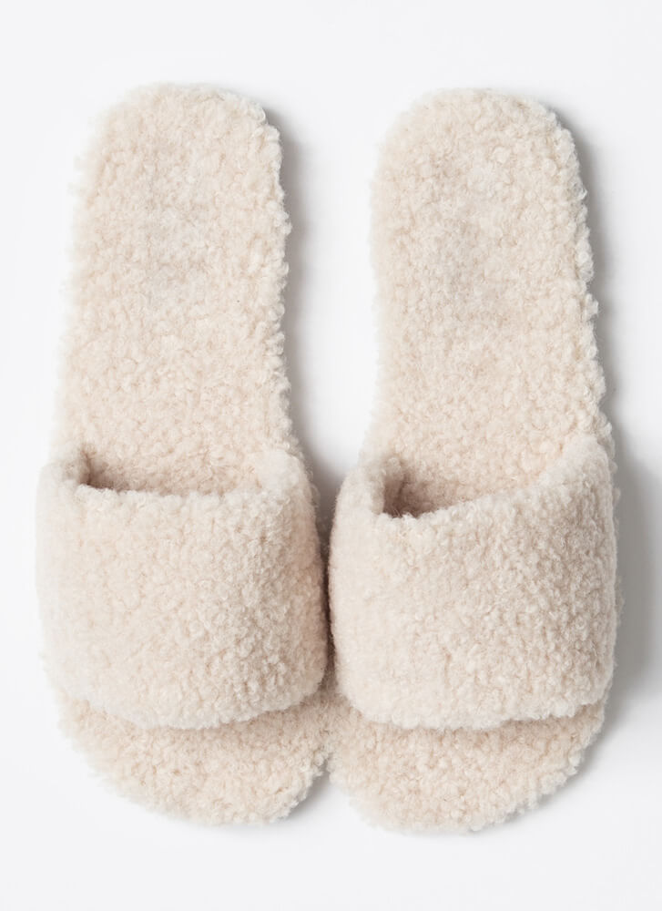 Fuzz-Worthy Faux Shearling Slide Sandals BEIGE