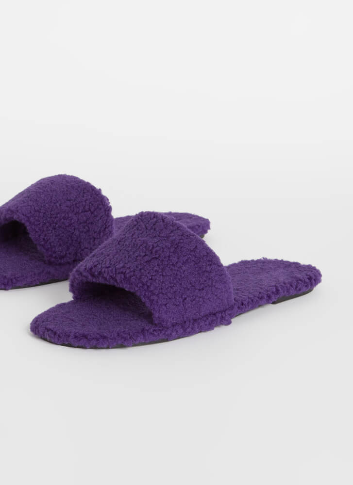 Fuzz-Worthy Faux Shearling Slide Sandals PURPLE