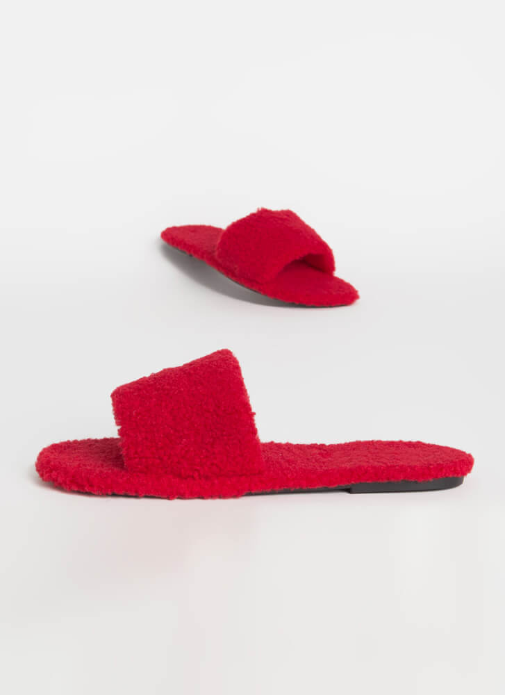 Fuzz-Worthy Faux Shearling Slide Sandals RED