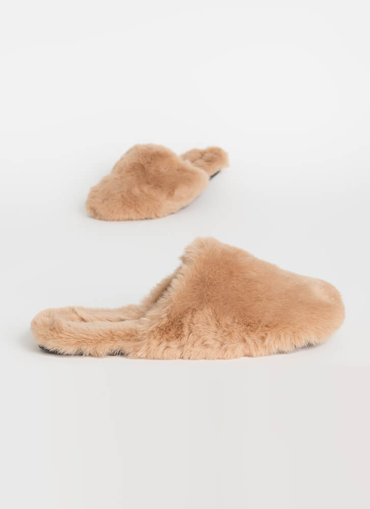 Furry Slippers Faux Fur Slide Sandals TAUPE