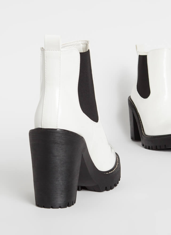 Chelsea Come Lately Chunky Booties WHITE