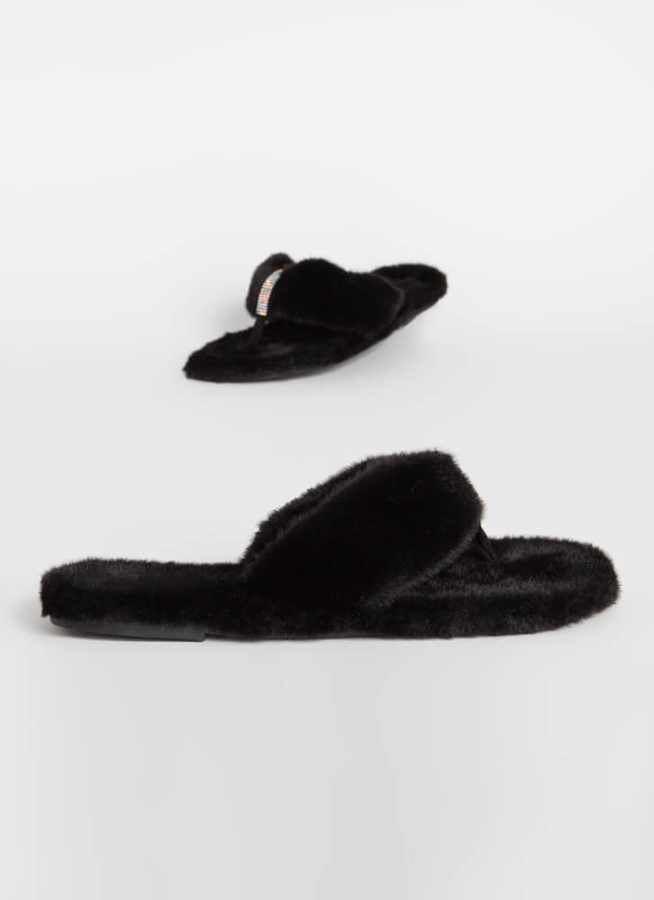 Furs And Diamonds Plush Thong Sandals BLACK