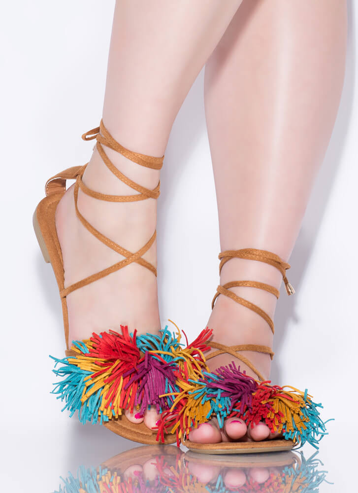 Shaggy Chic Lace-Up Pom-Pom Sandals MULTI