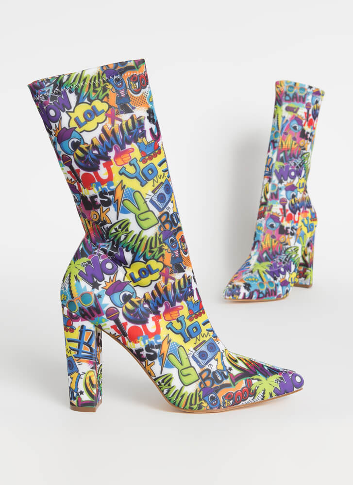 Fun Times Pointy Graffiti Sock Booties MULTI
