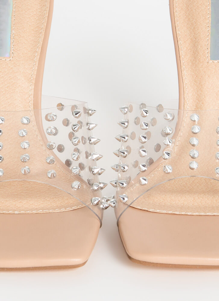 Danger Spiky Studded Clear Mule Heels CLEAR