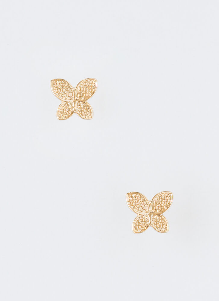 Butterfly Wings Jeweled Necklace Set GOLD