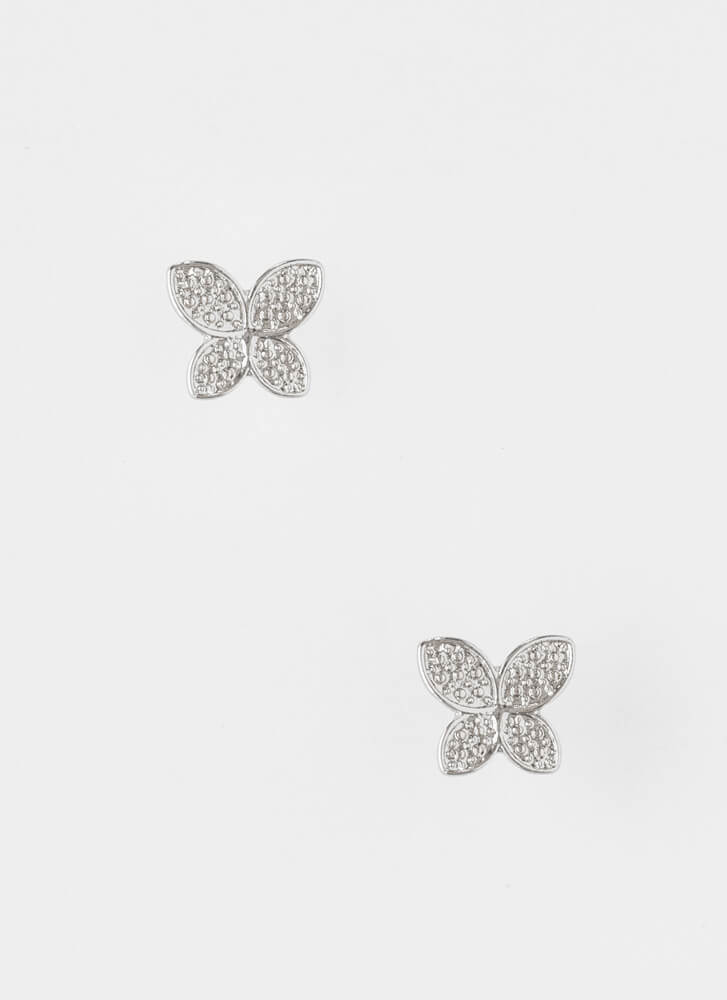 Butterfly Wings Jeweled Necklace Set SILVER
