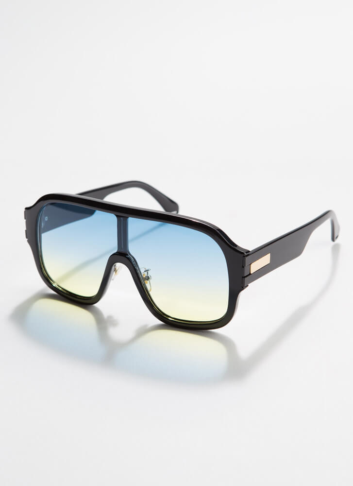 Oh Ombre Thick-Rimmed Goggle Sunglasses BLUE