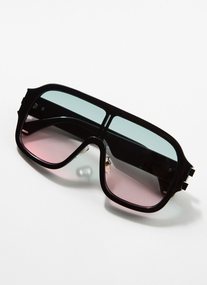 Oh Ombre Thick-Rimmed Goggle Sunglasses GREEN
