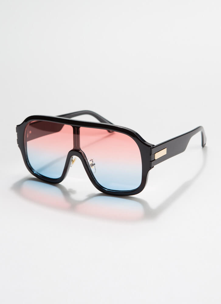 Oh Ombre Thick-Rimmed Goggle Sunglasses PINK