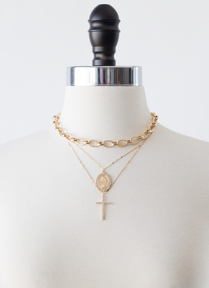 Have Some Faith In Me Necklace Set GOLD