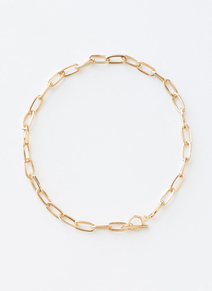 Chic Link Elongated Cable Chain Choker GOLD