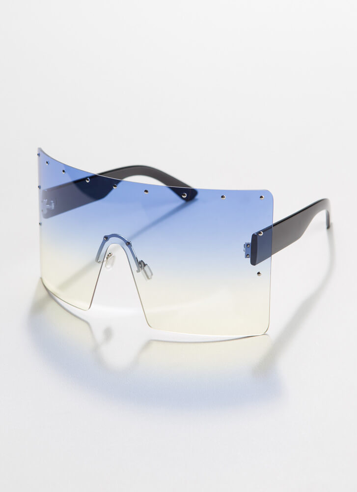 What A Stud Oversized Shield Sunglasses BLUE
