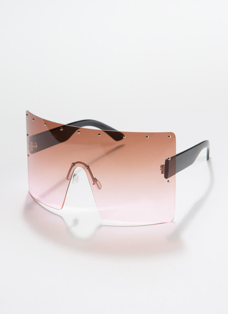 What A Stud Oversized Shield Sunglasses PINK