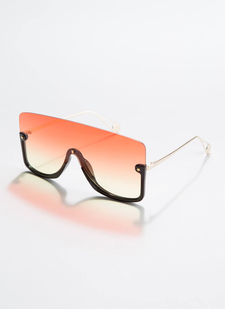 Star-Studded Event Ombre Sunglasses REDYELLOW