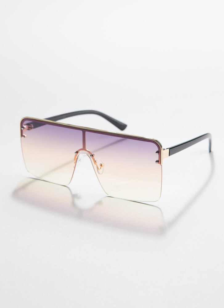 I Square On My Life Ombre Sunglasses PURPLE